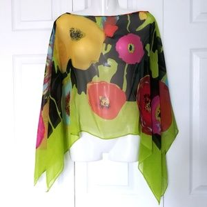 Beautiful pullover lightweight shawl with poppies
